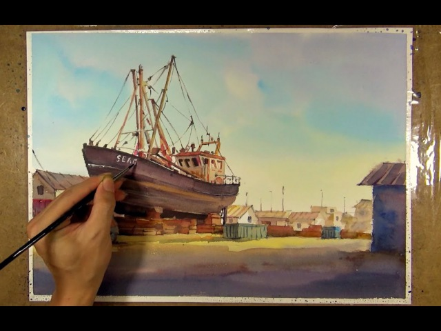 Watercolor Painting : Fishing Boat in the Shipyard