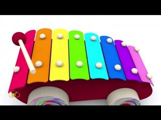 Развивающие мультфильмы для детей про машинки. Игрушки для малыша - 4 металлофон. Учим ноты.