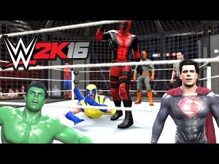 WWE 2K16 - Superman VS Hulk VS Spiderman VS Deadpool VS Deathstroke VS Wolverine