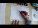 Курс декоративного пейзажа. 6 урок. Техника сухой кисти, тампоновка, воздух , акв