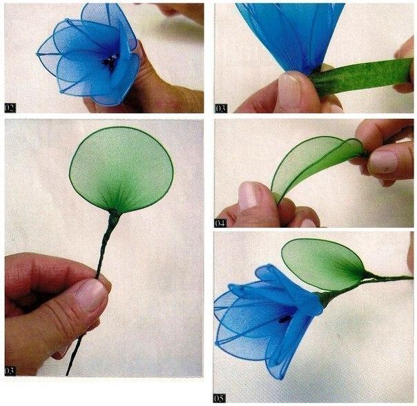 Цветы из капрона сделать