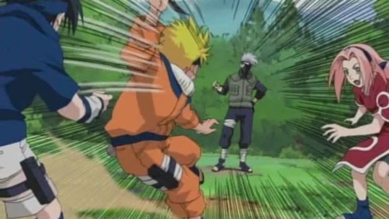 Наруто Саске и Сакура против Какаши