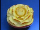 Carving Rose Art Apple-從水果雕花-Rose schnitzen aus Apfel-Cách tỉa hoa từ quả Táo.