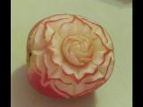Carving Apple art flower-Cách tỉa hoa từ quả Táo- 從水果雕花-Apfel art schnitzen-.