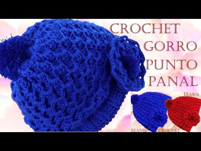Como tejer Gorro boina a Crochet o Ganchillo punto panal en relieve