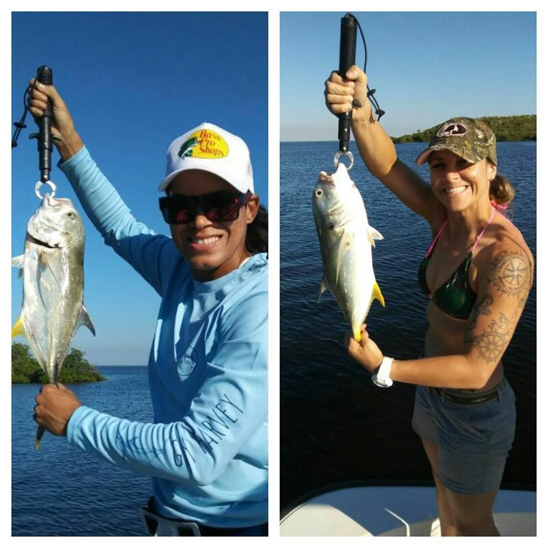 Аманда Нуньес и Нина Ансарофф  на рыбалке