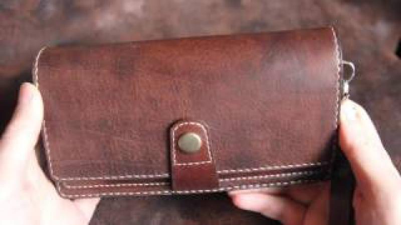 Кожаный кошелёк ( или клатч) Двойной, leather purse handmade.