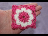 Квадратный мотив  крючком №2. Square Crochet Motif.