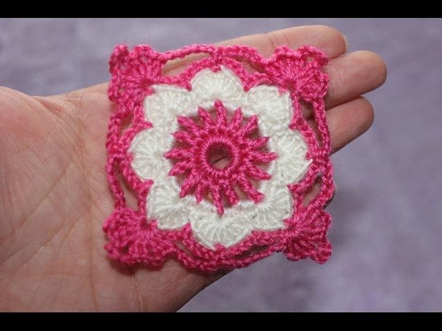 Квадратный мотив крючком №2 Square Crochet Motif