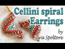 Tutorial Cellini spiral alternating zig zag - How to make earrings with beads - Peyote stitch