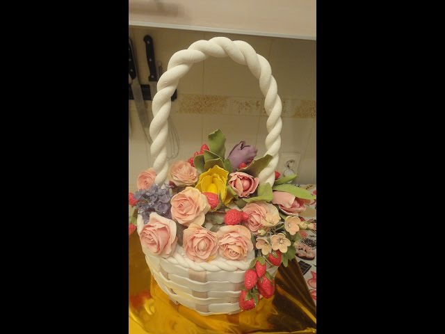 Торт корзина с цветами / Basket with flowers. Cake