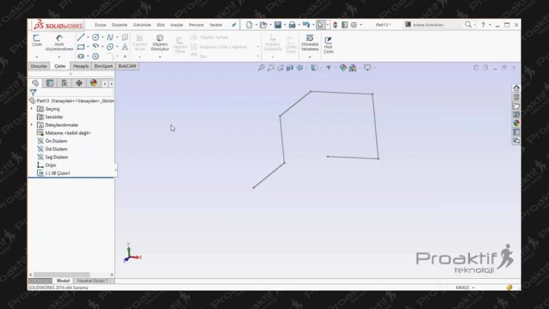 SolidWorks Parça 25 3B Tasarıma Çizim Girişi