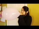 Yui Hisaishi - Blows up two 12 inch Pink Pearlecent balloons to pop!