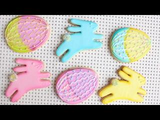 ( vk.com/lakomkavk) Testing AmeriColor Electric Color Kit - Pretty Easter Bunny & Easter Egg Cookies