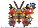 Weaving a peyote stitch Butterfly Inachis Io. Beading cartoon