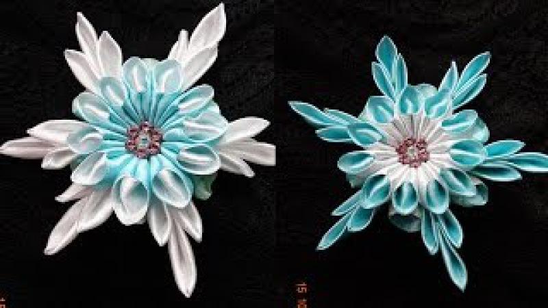 Снежинки Канзаши/New Petal kanzashi /Лепестки из ленты 2.5 см/Snowflake Kanzashi