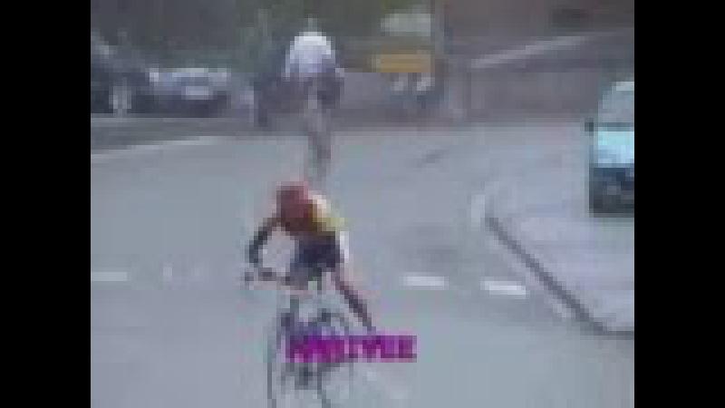 Велосипедист упал на финише!! НЕУДАЧНИК! ПРИКОЛ