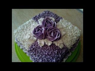 Украшаем торт белково заварным кремом Cake decoration Идея украшения