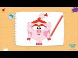 Уроки рисования как нарисовать Нюшу из Смешариков карандашом поэтапно -  Amaze kids