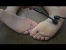 Tickle asmr foot tickle daughter feet with a toothbrush
