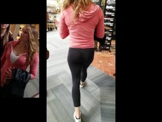 Стройная девочка в просвечивающих лосинах в магазине и её попка