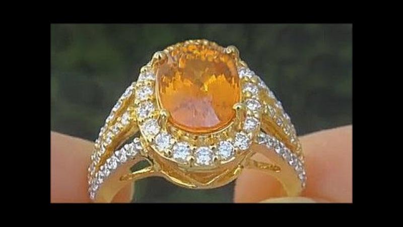 GIA Certified Natural Spessartine Garnet Diamond 18k Yellow Gold Estate Ring - C866