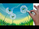 🌻 Dandelion Cotton Swabs Painting Technique for BEGINNERS EASY Acrylic Painting
