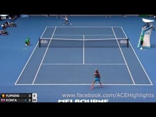 Johanna Konta vs Kirsten Flipkens - Australia Open 2017 Highlights
