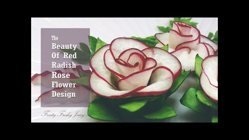 The Beauty Of Rose Carving Garnish: Best Vegetable For Flower Design - Red Radish Cucumber