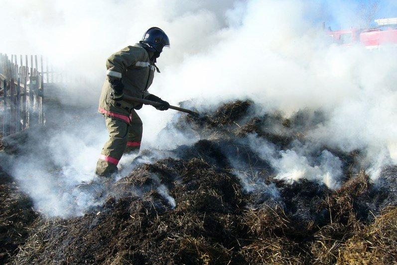 В с. Хуса-Кардоник сгорело 25 рулонов сена