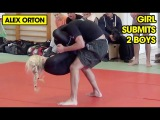 Girl submits 2 Boys at Grappling (triangle and guillotine choke finishes)