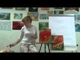 Как нарисовать цветок  Рисуем мак  Красный мак, масло Живой мастер класс