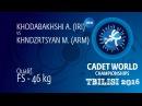 Qual. FS - 46 kg: A. KHODABAKHSHI (IRI) df. M. KHNDZRTSYAN (ARM), 6-0