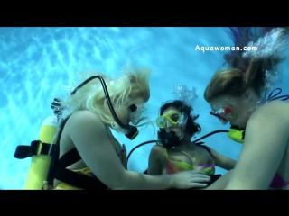 Three Gorgeous Bikini Scuba Girls