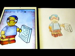 Как нарисовать Лего Симпсон для детей How to draw for children How to Draw Lego Simpson Milhouse