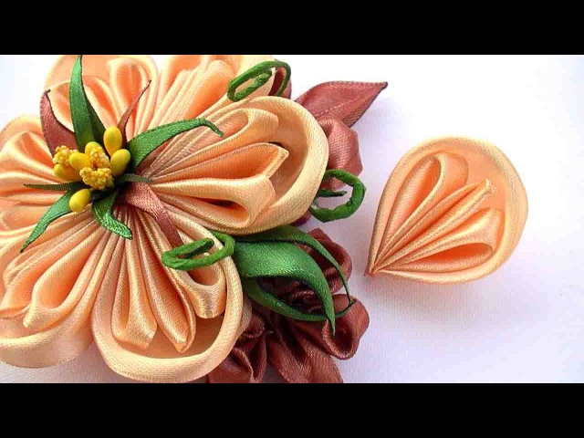 How to Make Flowers Petals Kanzashi, Как Сделать Лепестки Канзаши из Ленты 2 5 см