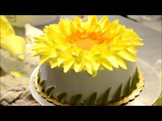 ( https://vk.com/lakomkavk) How to make a Yellow Sunflower Design cake - Bakery Secret