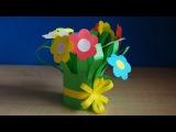 Цветы из бумаги. Букет для мамы на день рождения своими руками. Весенние поделки ...