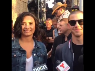 Demi Lovato and Nick Jonas backstage at the Boston Pops Fireworks Spectacular in Boston, MA