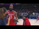 Kevin Hart Videobombs James Hardens Interview Rockets vs Sixers Jan 27, 2017 2017 NBA Season