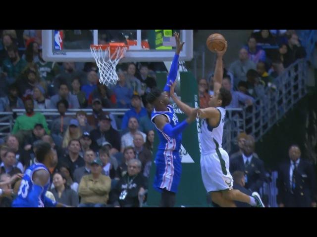 Malcolm Brogdon Posterizes Nerlens Noel   Sixers vs Bucks   January 25, 2017   2016-17 NBA Season