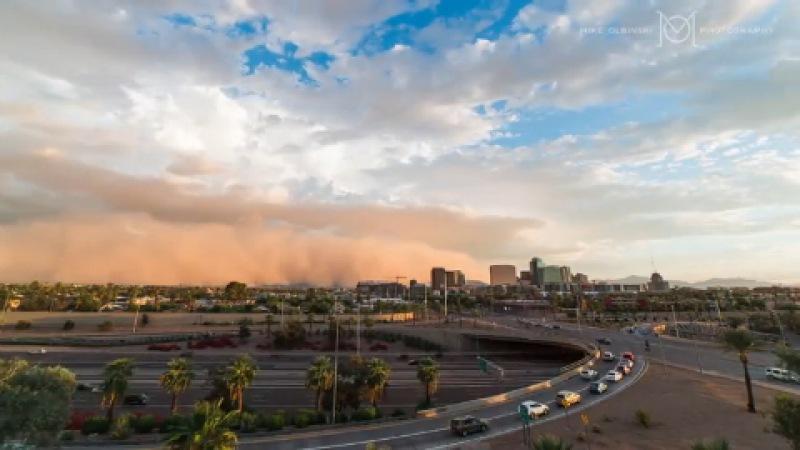 пыльная буря (хабуб) в городе Феникс, Аризона, 6 сентября 2014 г.