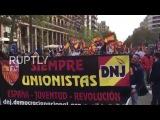 Испания Националисты сгорел Каталонской флаги на Испанском национальном день.