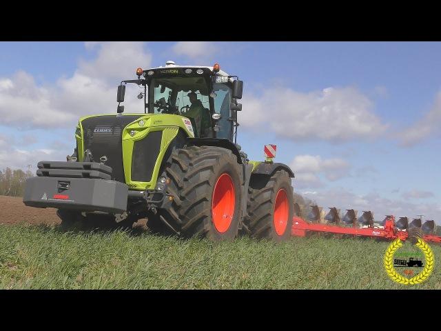 Claas Xerion 5000 mit 12 Schar Wendepflug PW 100 Variomat von Kverneland beim Pflügen 2017