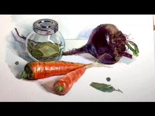 Как нарисовать свеклу и морковь акварелью (с комментариями художника)