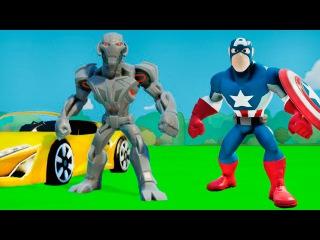 Мультик игра для детей про машинки Альтрон и Капитан Америка веселье супергероев с ТАЧКАМИ Дисней