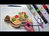 Christmas Cupcakes Watercolor Painting Tutorial REAL TIME