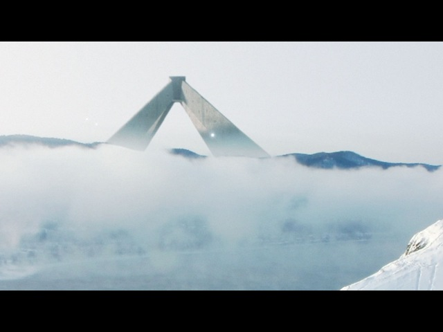 Obří konstrukce s UFO světelný koule poblíž jezera Bajkal Rusko Jan 2017 YT