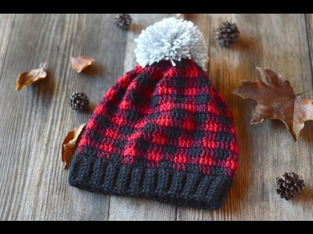 Crochet Plaid Slouchy Hat Video Tutorial
