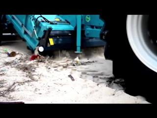 Трактор для очистки песчаных пляжей от мусора